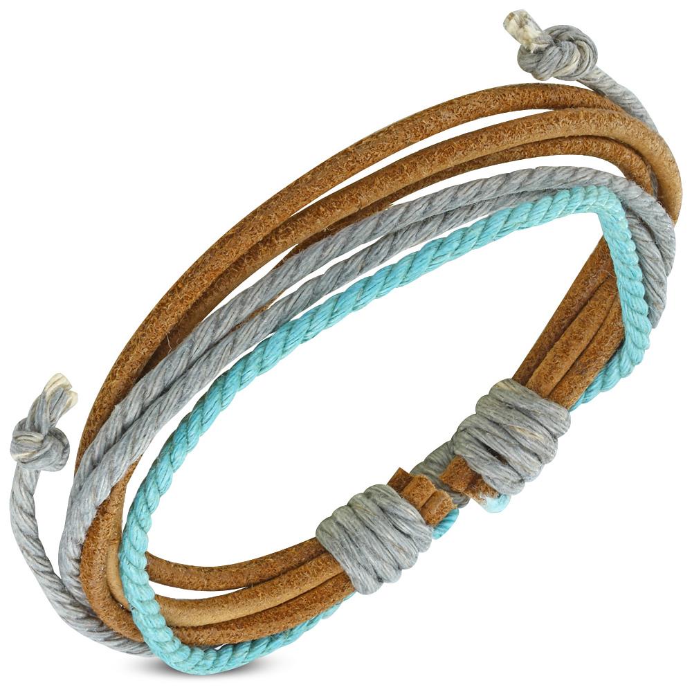 Heren armband leer touwtjes