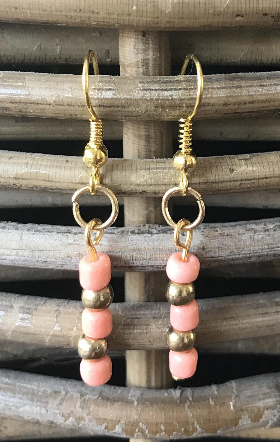 Zalmroze goud oorbellen hangers dames