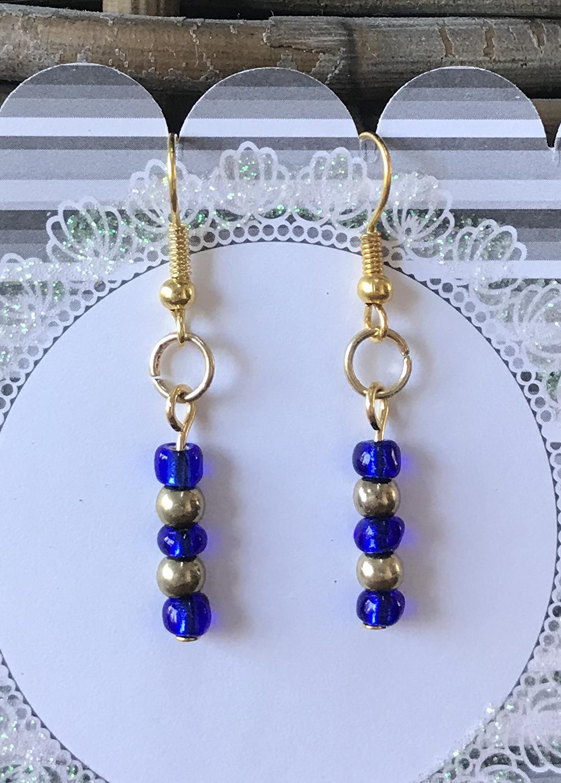 Kobalt blauw met goud oorbellen dames