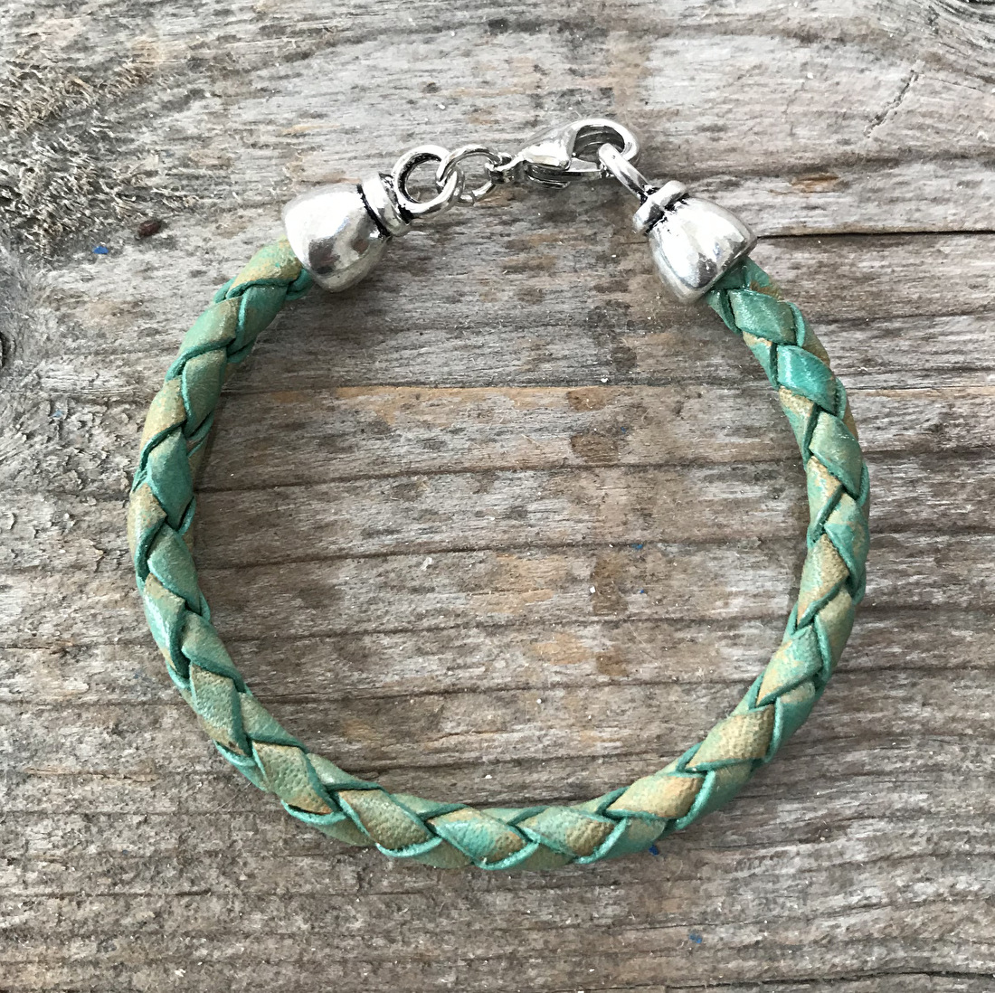 Leren jongens armband turquoise