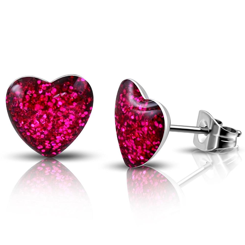 Roze glitter hartjes oorbellen kinderen staal