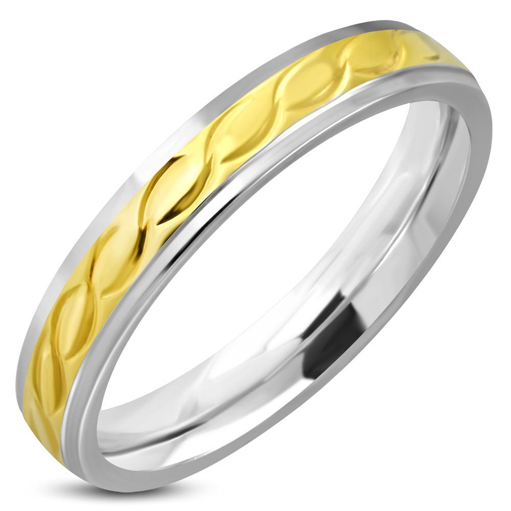 Dames ring edelstaal gevlochten patroon goud en zilver combi