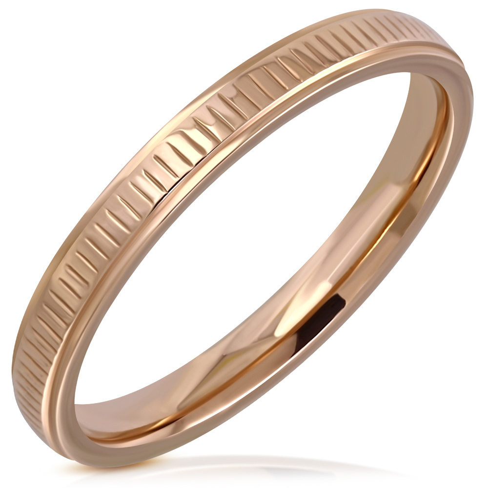 Dames smalle statement ring chirurgisch staal rosé goud