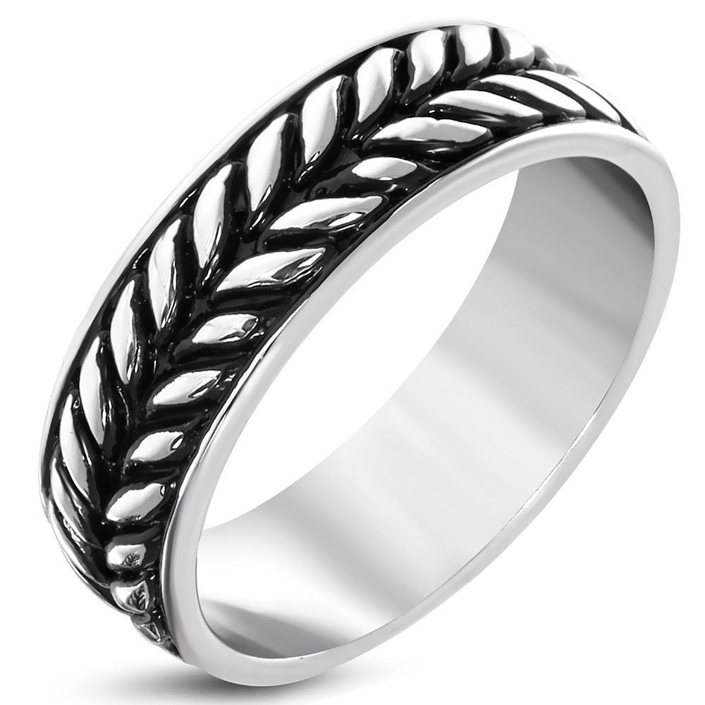 Gevlochten ring roestvrij staal antiek zilver dames
