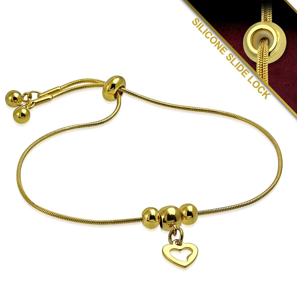 Rvs armband goud met hartje