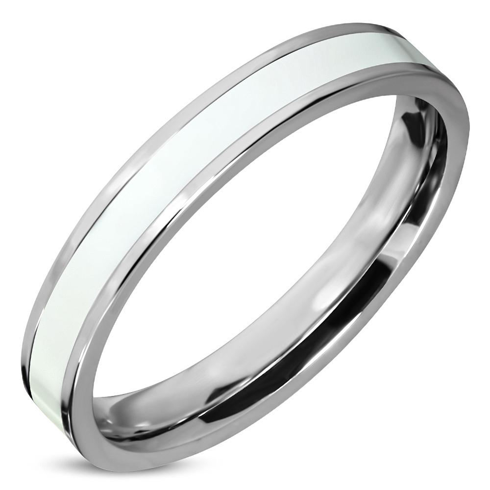 Stalen dames ring zilver met wit emaille