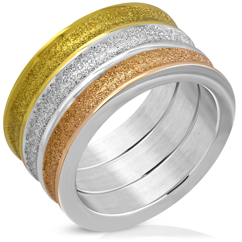 Brede Ring edelstaal drie kleuren