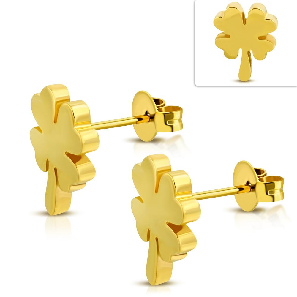 Klavertje vier goudkleurige stalen oorbellen dames