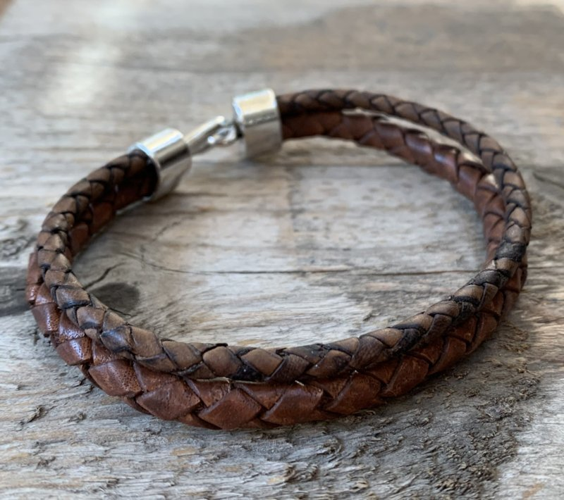 Bruine leren heren armband