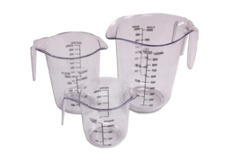plastic measuring cup set - hard - 3 pieces - 250 ml - 500 ml - 1.000 ml - MEM14