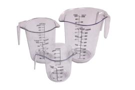 plastic maatbeker set - hard - 3 stuks - 250 ml - 500 ml - 1.000 ml - MEM14