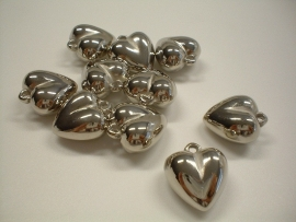 charm - metallic heart type 36 - 11 x 18 x 18 mm - 10 units - KEB023