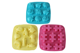 range rubber molds square - 4 x 3 types - ZMR053