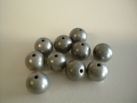 bead - metallic - mat antique silver - 12 mm - 10 units - KEB030