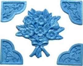 - SALE -  First Impressions - Mold  - Flowers -  flowers w/ cornerpieces - FL228