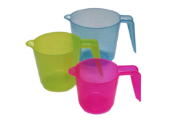plastic measuring cup set - smooth - color - 3 pieces - 300 ml - 500 ml - 1.000 ml - MEM19