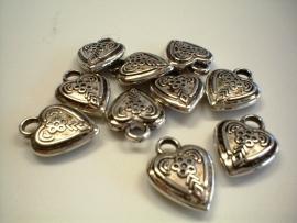 bedel - metaal look hart type 45 - 5 x 15 x 15 mm - 10 stuks - KEB024