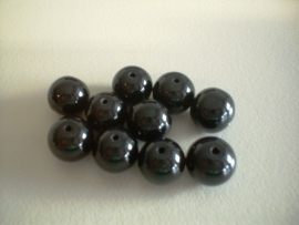 bead - gloss black - round - 10 mm - 10 units - KEB034
