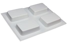 Soap mold - rectangle - 4 units - (temporarily white) - ZMP033