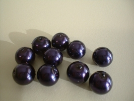 bead - glass pearl - dark purple - 12mm - 10 units - KEB005