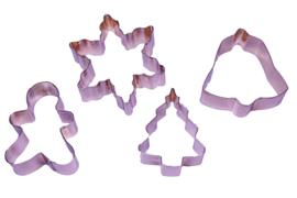 - NIEUW - uitsteker set - RVS - 4 stuks - Thema Kerst - USP009