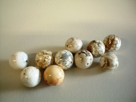bead - cream melange - round - 12 mm - 10 units - KEB040