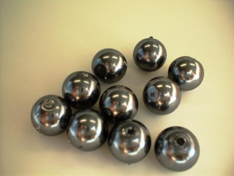 kraal - glasparel - antraciet -12 mm - 10 stuks - KEB008