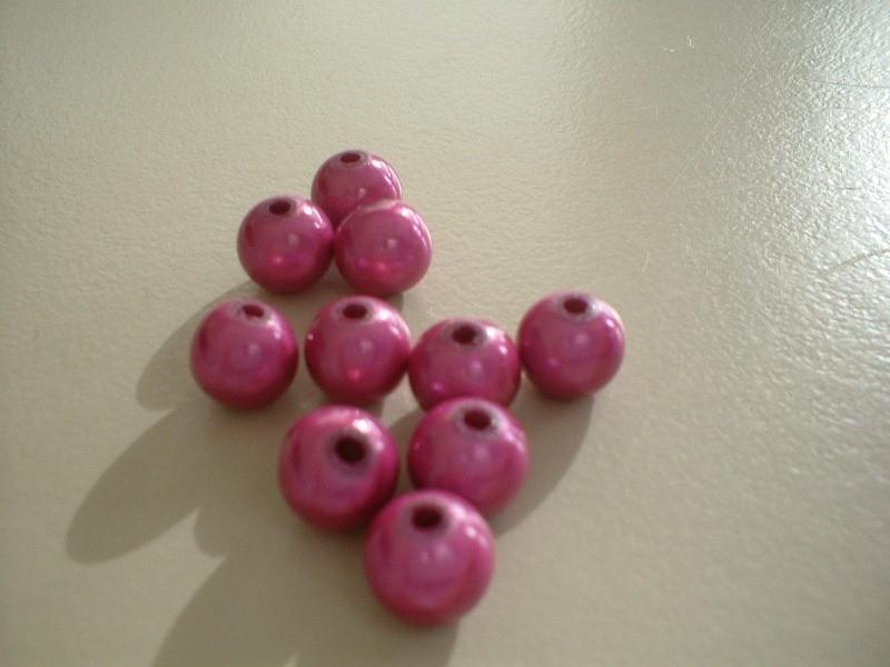 HQ kraal - rond miracle 3D - roze  - 8 mm - 10 stuks - KEB012