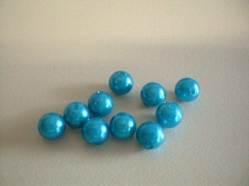 kraal - kunstof parel - aqua - 8 mm - 10 stuks - KEB033