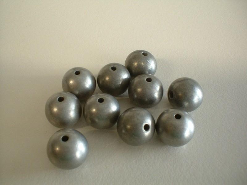 kraal - metal look - mat antiek zilver - 12 mm - 10 stuks - KEB030