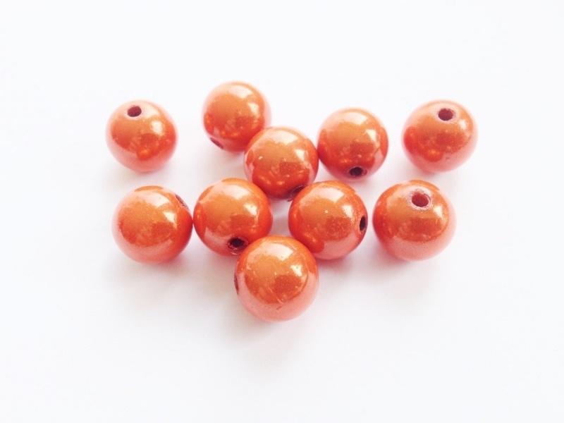 HQ kraal - rond miracle 3D - oranje - 12 mm - 10 stuks - KEB047