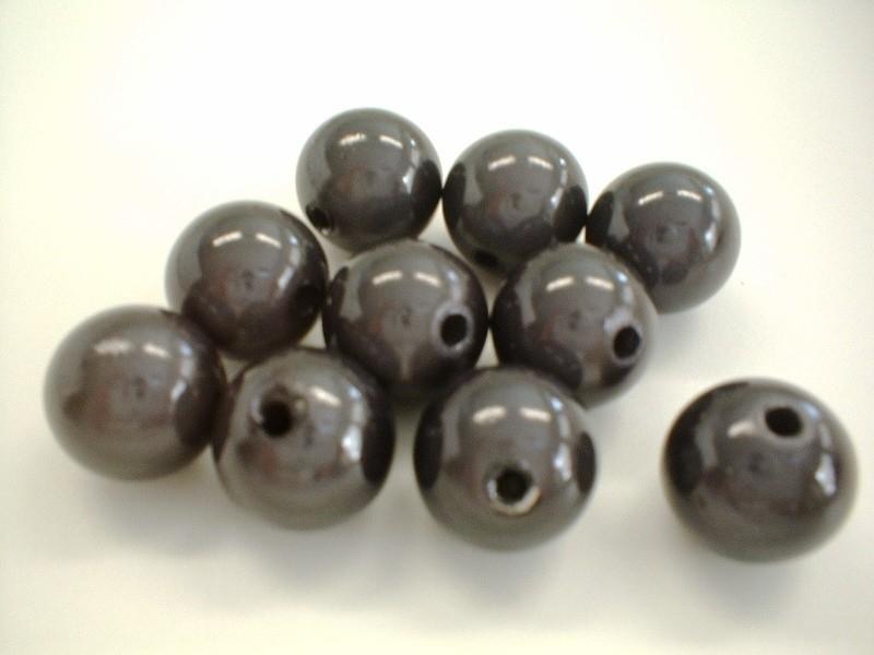 HQ kraal - rond miracle 3D - donker grijs - 12 mm - 10 stuks - KEB016