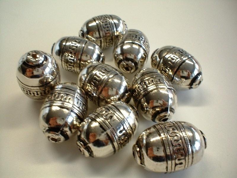 kraal - metaal look ovaal type 32 - 19x 28  mm - 10 stuks  - KEB020