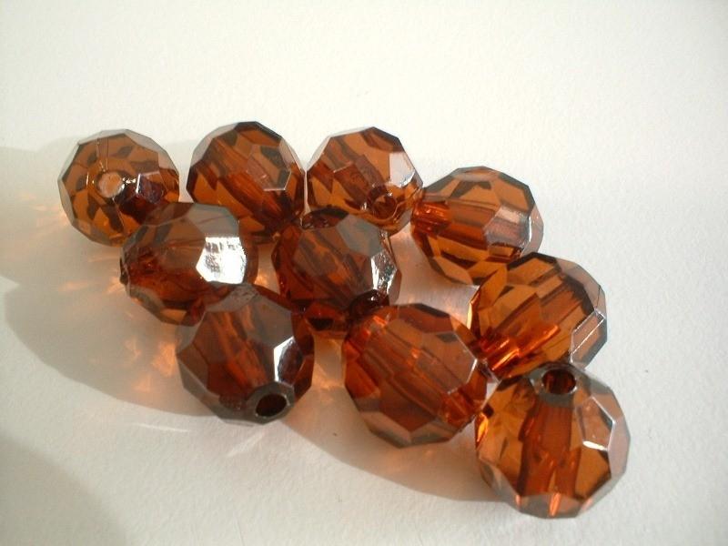 kraal -  acryl facet - smoked bruin - 12 mm - 10 stuks - KEB043