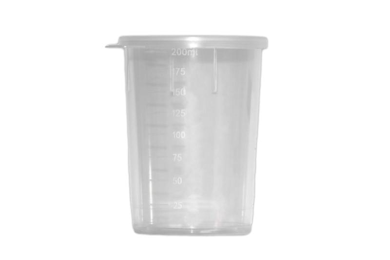 kunststof maatbeker / mengpotje + deksel - transparant - 200 ml - BEP20