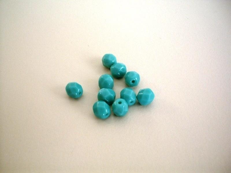 kraal - DQ fire polished facet - turquoise - 6 mm - 10 stuks - KEB028