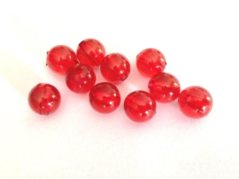 kraal - acryl kraal - rood  - 12 mm - 10 stuks - KEB027