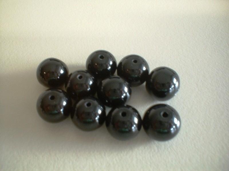 kraal - glans zwart - rond - 10 mm - 10 stuks - KEB034