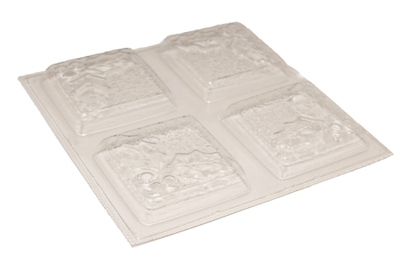 Soap mold - Christmas - Square with Holly leaf - 4 units - ZMP052