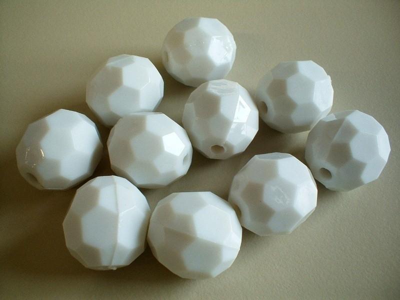 kraal - acryl facet - wit - 20 mm - 10 stuks - KEB031