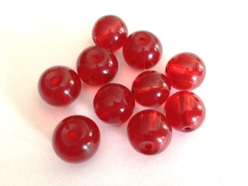 kraal - acryl kraal - rood - 16 mm - 10 stuks - KEB46