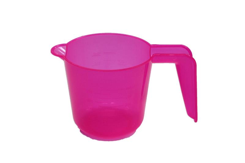 plastic measuring cup - smooth - pink - 300 ml - MEM16
