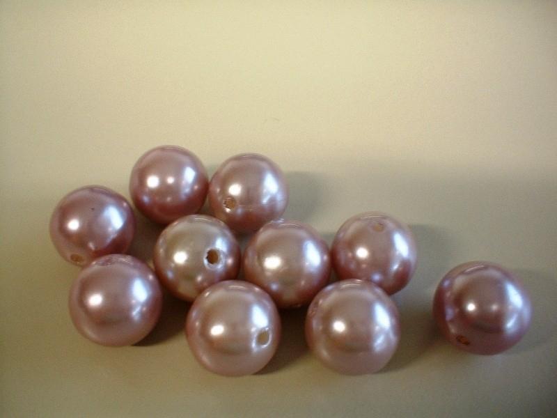 kraal - kunstof parel - roze - 16 mm - 10 stuks - KEB036
