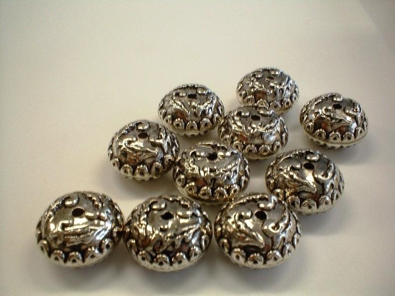 bead - metallic round type 49 - 10 x 18 mm - 10 units  - KEB025