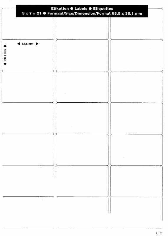 Self-adhesive labels - A4 - 21 units per sheet