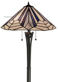 7874-TG08FB Vloerlamp H160cm met Tiffany kap Ø45cm Astoria Blue