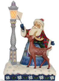 """Santa by Lighted Lamppost"" H28cm Verlichting Jim Shore  6000673"