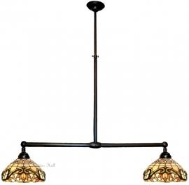 5776 Hanglamp B90cm met 2 Tiffany kapjes Ø30cm Pendragon