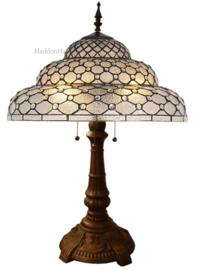 6080 Tafellamp Bruin H77cm met Tiffany kap Ø51cm Perle Fumé