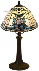 9004 9022 Tafellamp Tiffany H41cm Ø26cm Blue-Oyster